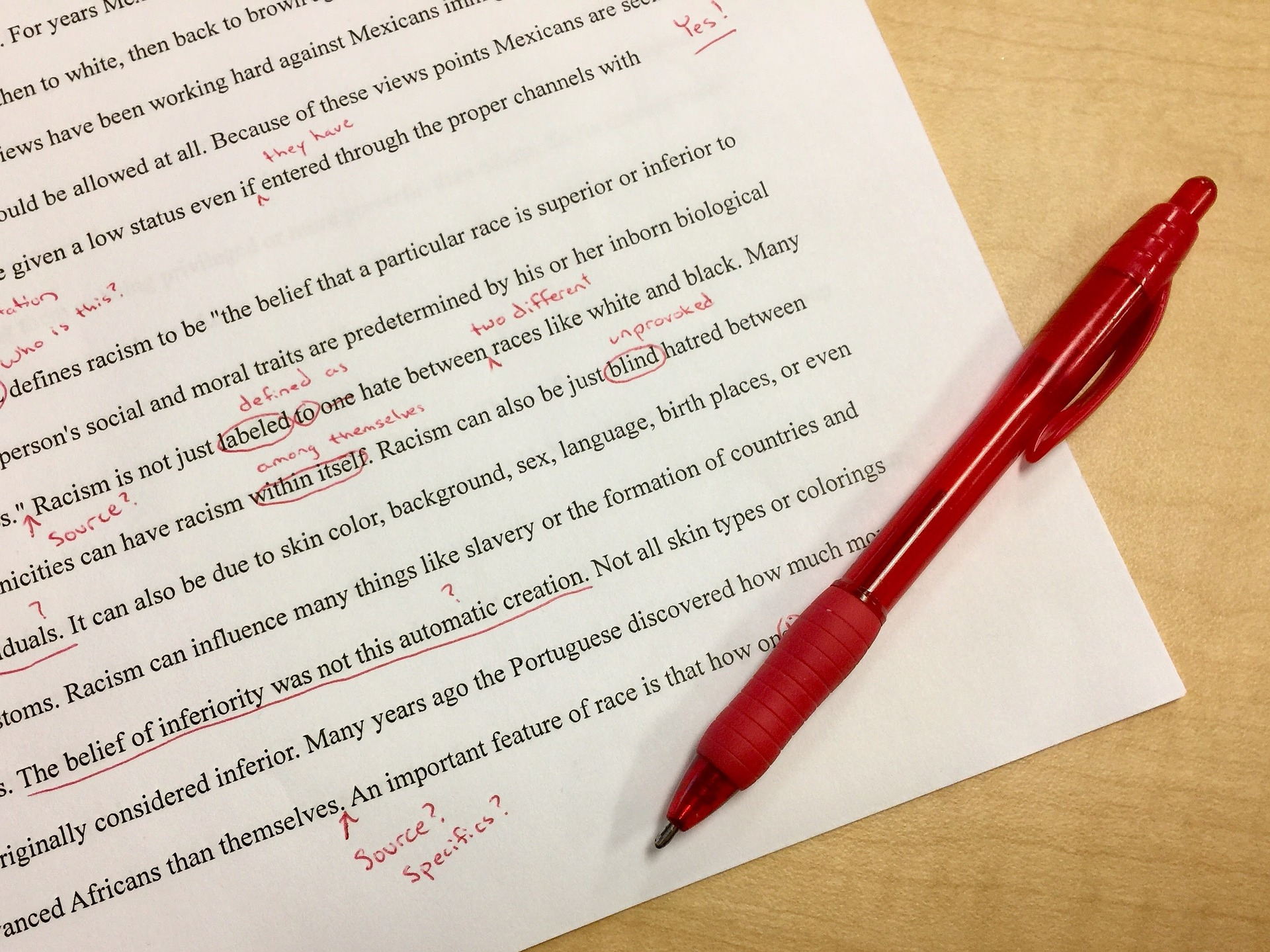 an essay with spelling corrections